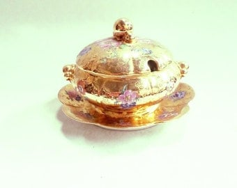 Limoges Porcelain Mustard or sauce Dish Hand Painted Gold Floral (v740)
