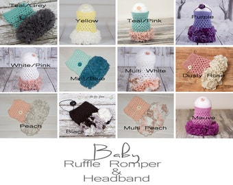 CLEARANCE Crochet Baby Ruffle Rompers