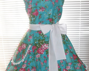 Retro Style Teal Blue Apron Featuring Pink and Fuchsia Roses Trimmed in White Ruffled Ribbon Circular Flirty Skirt
