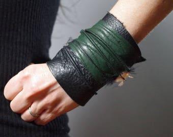 Twisted Leather Cuff Bracelet - Leather Cuff Bracelet - Leather Cuff - Green Leather Cuff Bracelet - Leather Jewelry