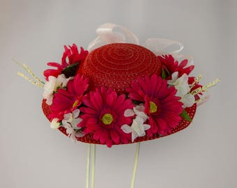Child's Easter Straw Hat- Red