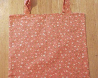 Cotton Grocery Tote, Peach and Green Flowers
