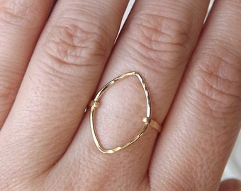ON SALE Hammered Marquise Gold Filled Ring - Gold Ring - Gold Band - Marquise Ring