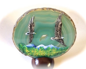 Hand Painted Brazilian Agate Fall Eagles