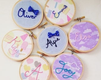 "6 Personalised 3"" Hand Embroidered Name Hoops - Party Favours Stocking Fillers Bridesmaid Gift"
