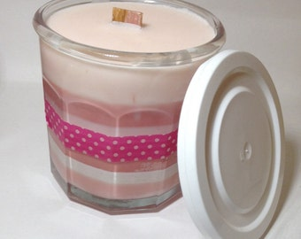 Candy Cane soy candle with a wooden wick