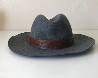Vintage Grey Wool + Tooled Leather Hat