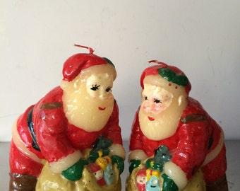 Christmas / Vintage Santa Candles / 1950's Vintage Christmas Decorations
