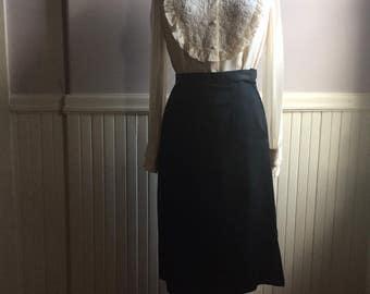 Women's Vintage Clothing / Black Satin Skirt / 1940's Black Skirt / Formal Catering Attire / Vintage Costume Shop Prop