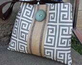 Gray and White Handbag Greek Key Purse Tote Bag with Jute Webbing and Slate Blue Button