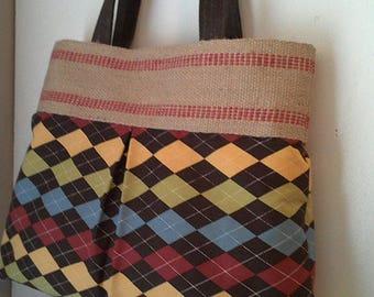 Brown Multicolor Argyle Handbag Purse Tote Bag with Jute Webbing