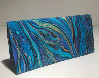 Fabric Checkbook Cover - Turquoise and Gold Ripples with Black Interior