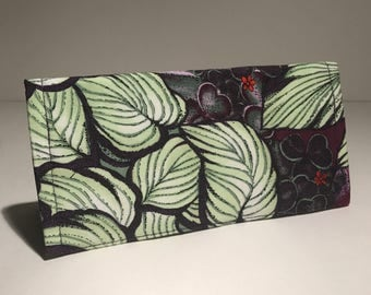 Fabric Checkbook Cover - Tropical Print with Dark Purple Interior