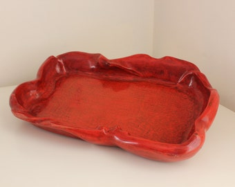 Hand Carved Wood Tray in the Manner of Russell Wright's Oceana Line, Red Lacquered