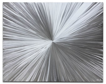 Sunburst Metal Art 'Bursting' by Nate Halley - Modern Silver Decor Contemporary Artwork on Natural Aluminum
