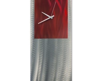 Red Modern Clock 'Red Studio Clock' by Nate Halley - Metal Wall Decor Funky Art Clock on Ground and Colored Aluminum