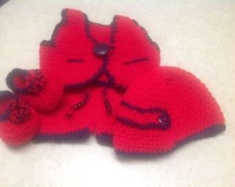 Crochet Red 4 Piece Baby Boy Set