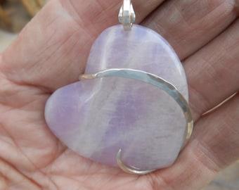 Rose Quartz Heart Silver Wrapped Pendant