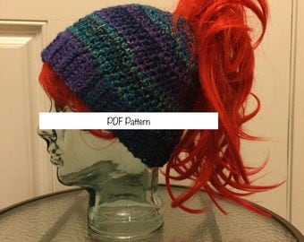 Quick and Easy Thick ponytail hat crochet pattern -  PDF PATTERN ONLY -