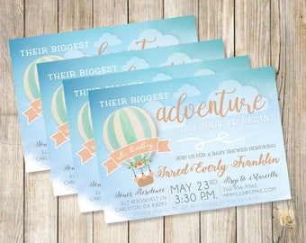 Hot Air Balloon Big Adventure Baby Shower Invitation