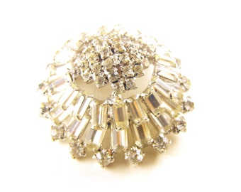 Rhinestone Brooch High Relief Domed Baguette Cut Clear Multi Tier Cake Topper