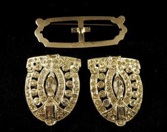 Rhinestone Duette Brooch Removable Dress Clips On Patented Duet Brooch Converter Mechanism Art Deco Design