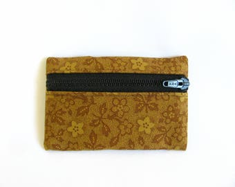 Small pouch- Honey/brown floral print cotton