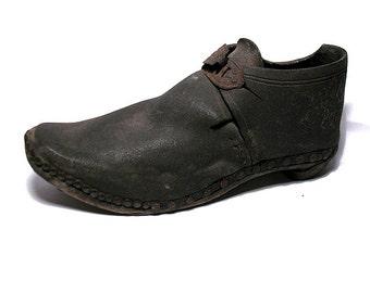 Antique Child's Leather & Wood Lancashire Clog - Petrified Shoe - British Victorian Working Class Textile Mill Shoe - Shoe History
