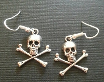 Silver Skull and Crossbone Earrings