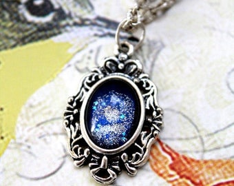 Blue Comet Galaxy Opal Necklace Pendant (18x13mm cabochon) Petite Victorian cameo frame jewelry for gifts,alice in wonderland,edwardian era