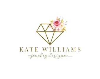 Premade Logo Design, Photography Watermark, Floral Diamond  Logo, Jewelry Logo Design 399