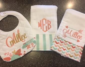 Personalized Monogrammed Custom Burp Cloths & Bib for Girls