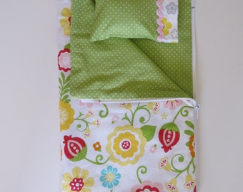 "Made To Fit Like American Girl Doll Accessories; Zippered Sleeping Bag Made to Fit Like AG Doll Clothes; 18"" Doll Sleeping Bag and Pillow"