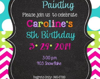 Painting party-Peace Love Party Birthday invitations with envelopes   chalk- chalkboard -any colors- arts and crafts-paint