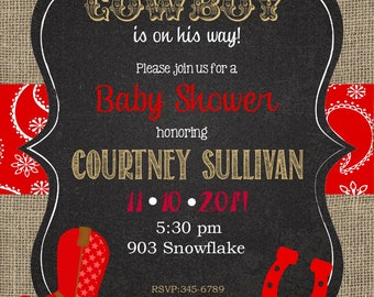12 cowboy baby shower invitations with envelopes burlap chalkboard western baby shower little cowboy