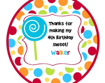 Lollipop Round Labels Stickers for party favors, gift tags, or address labels- candy party