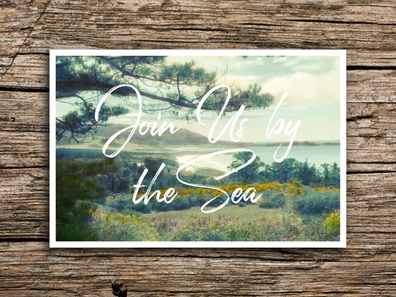Carmel by the sea wedding save the date postcard for Carmel by the sea wedding