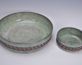 Stoneware chip and dip set, ceramic serving dishes, pottery party dishes