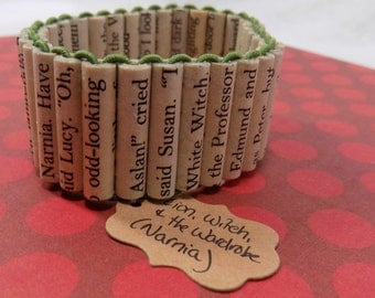 SALE- Finished Narnia book page bead bracelet