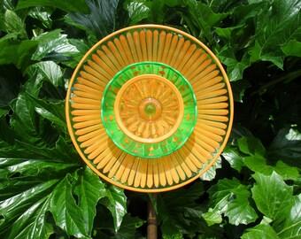 Garden Art - Hand Painted Bright Orange & Bright Green - Outdoor Decorations - Yard Art