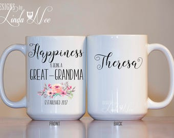 Personalized Happiness is being a Great Grandma Mug, Great Grandma Est Established Mug, Baby Reveal Mug, Pregnancy Announcement, Nana MPH263