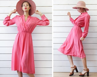 Vintage fuchsia pink pure silk long sleeve wrap top day midi dress