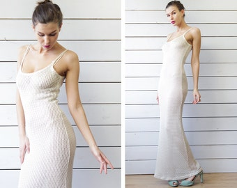 Vintage ivory white semi sheer see through knit boho festival wedding lace column maxi dress S
