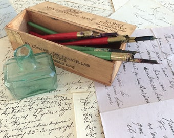 Vintage calligraphy dip pen Junior holders and nibs and options for ink well and wooden box. Select some or all from the collection.