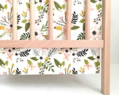 Crib Skirt Blush Sprigs and Blooms. Baby Bedding. Crib Bedding. Crib Skirt Girl. Baby Girl Nursery. Floral Crib Skirt. Blush Crib Skirt.
