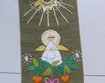Vintage Swedish Hand embroidered Christmas tapestry - Angel, herats and brass bell