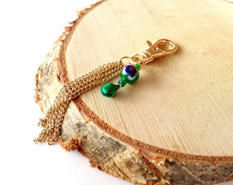 Keychain gold. Green keychain. Christmas keychain. Bridesmaid gift. Bell keychain. Wedding gift. Linnepin010