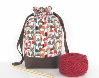 Knitting Drawstring Bag, Foxes Raccoons Socks Project Bag, Crochet tote or Baby Shower Gift Bag