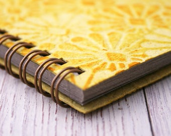 Small yellow notebook spiral bound embossed / mini notebook / pocket notebook / blank notebook / recycled notebook / notepad / art deco book