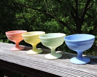 Hazel Atlas Moderntone, Platonite, Footed Pedestal Dessert Cups ,Sherbet Dishes, Set of 4, Pastel Yellow, Pink, Green, Blue, 1940's